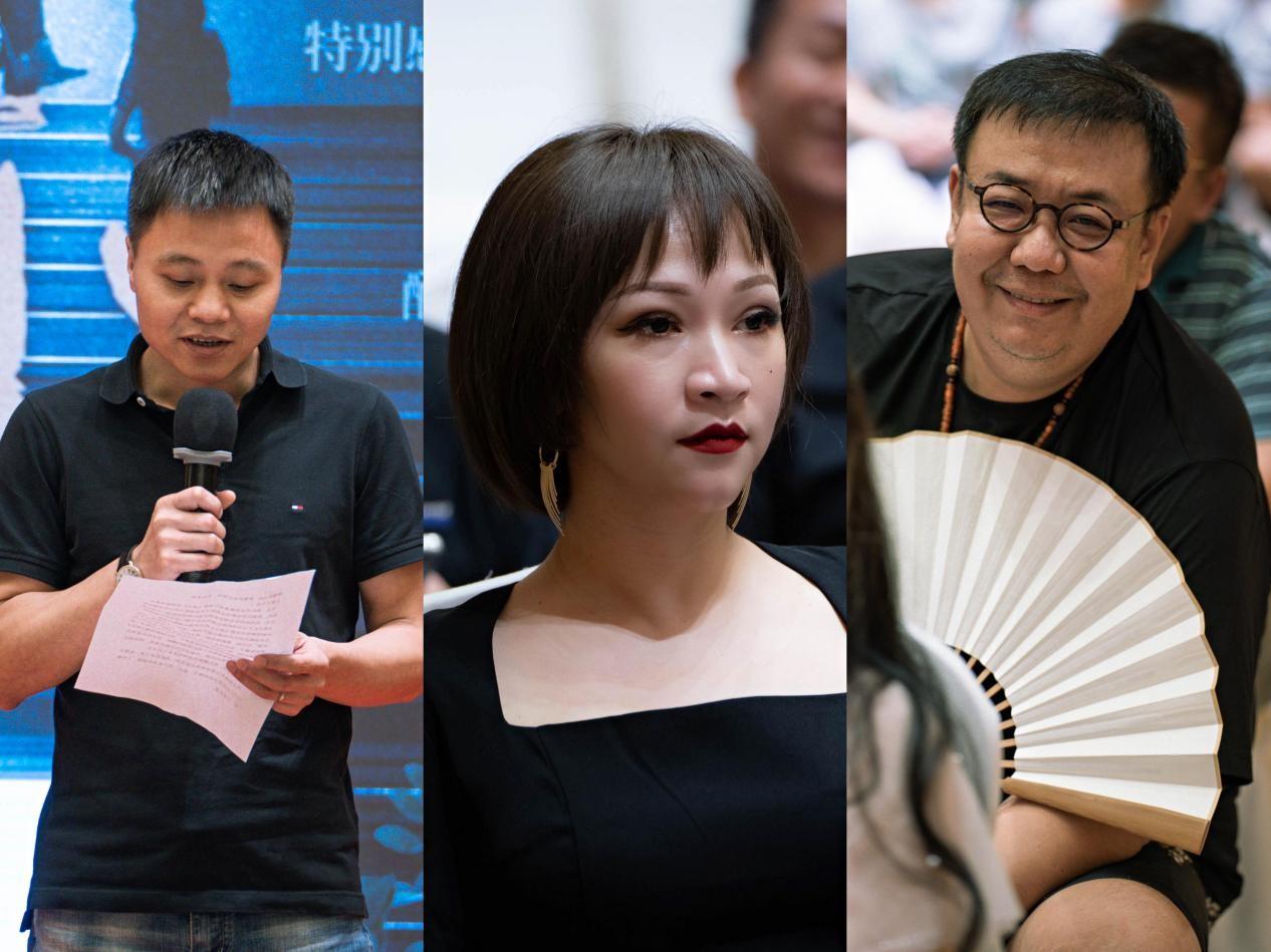 从左往右依次为:出品人凡名水、总制片人Yoyo Li、导演柳七.jpg